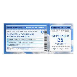 boarding pass save the date tickets with sky cloud personalized invite