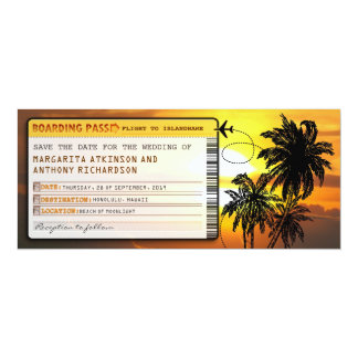 boarding pass save the date tickets with sunset card