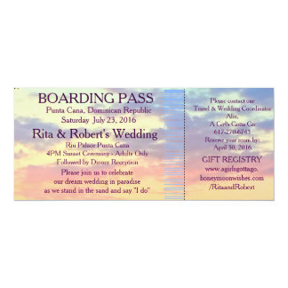 Boarding Pass Ticket | Destination Wedding 10 Cm X 24 Cm Invitation Card