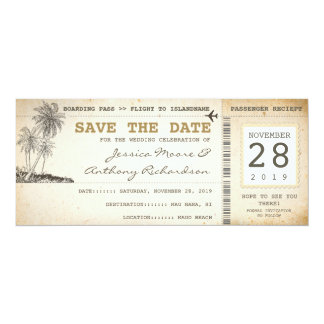 boarding pass tickets for save the date 10 cm x 24 cm invitation card
