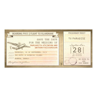 boarding pass tickets -vintage save the date invites
