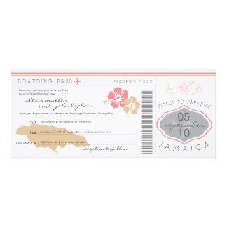 "Boarding Pass to Jamaica Wedding Invitation 4"" X 9.25"" Invitation Card"