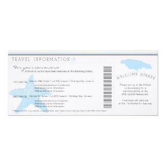 Boarding Pass to Jamaica Wedding Travel Info 10 Cm X 24 Cm Invitation Card