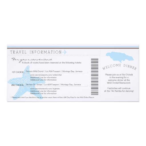 Boarding Pass to Jamaica Wedding Travel Info Personalized Announcements