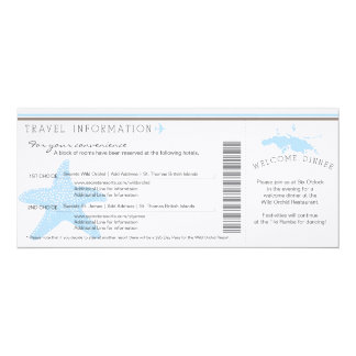 Boarding Pass to St. Thomas Wedding Travel Info Card