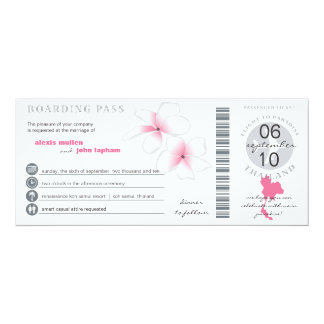"Boarding Pass to Thailand Wedding Invitation 4"" X 9.25"" Invitation Card"