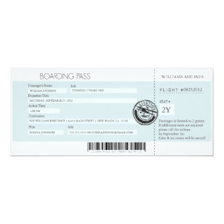 Boarding Pass (Today's Best Award) 10 Cm X 24 Cm Invitation Card