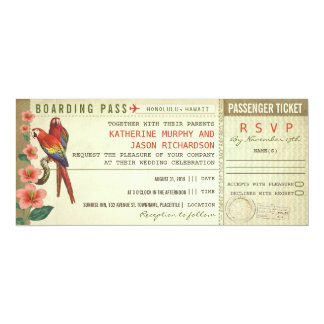 boarding pass wedding tickets with rsvp card