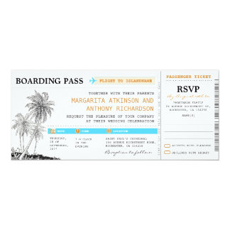 boarding pass wedding tickets with RSVP together 10 Cm X 24 Cm Invitation Card