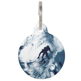 Boarding Trybe Tube, Hawaiian Surf Graphic Pet ID Tag