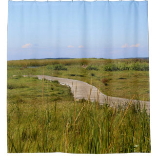 Boardwalk across a Salt Marsh on Cape Cod Shower Curtain