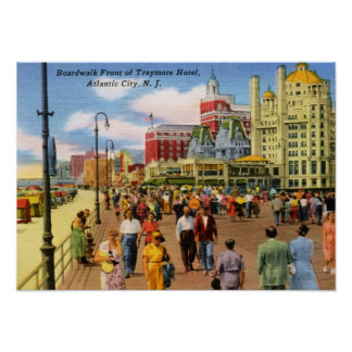 Boardwalk, Atlantic City Vintage Poster