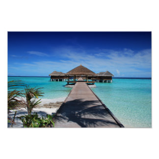 Boardwalk, Dock to Cabanas, Beach, Ocean, Maldives Poster