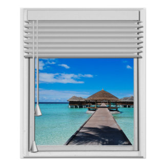 Boardwalk Pier Sea View Fake Window With Blinds Poster