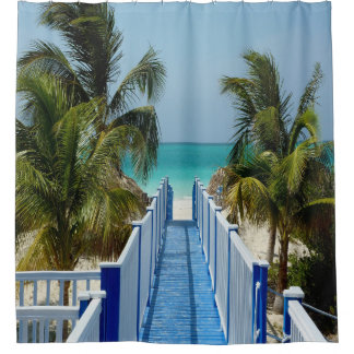 Boardwalk To Beach Palm Tree Shower Curtain