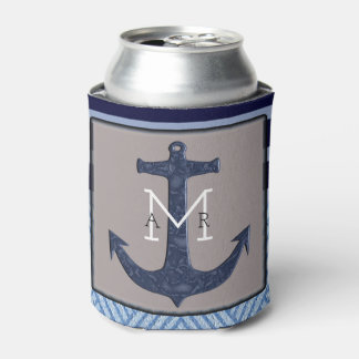 Boat Anchor and Stripes, Nautical Design Can Cooler