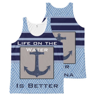 Boat Anchor design & Navy Blue Nautical Stripes All-Over Print Singlet