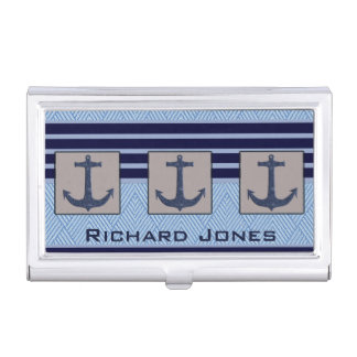 Boat Anchor design & Navy Blue Nautical Stripes Business Card Holder