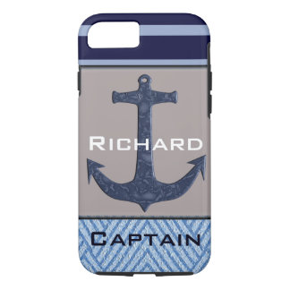 Boat Anchor design & Navy Blue Nautical Stripes iPhone 8/7 Case