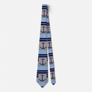 Boat Anchor design & Navy Blue Nautical Stripes Tie