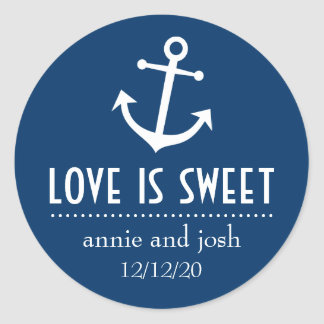Boat Anchor Love Is Sweet Labels (Dark Blue)
