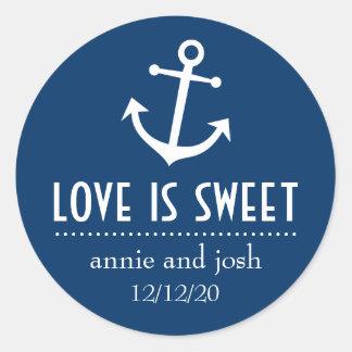 Boat Anchor Love Is Sweet Labels (Dark Blue) Round Sticker