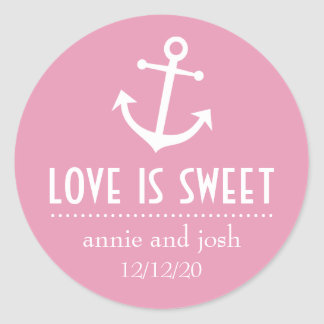 Boat Anchor Love Is Sweet Labels (Pale Pink) Round Stickers