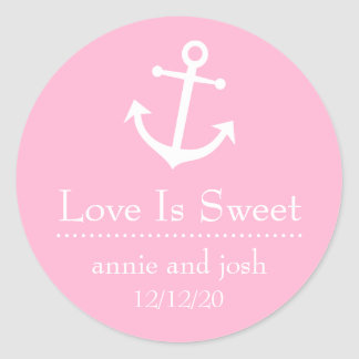 Boat Anchor Love Is Sweet Labels (Pink) Sticker
