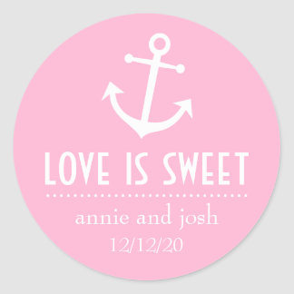 Boat Anchor Love Is Sweet Labels (Pink) Round Stickers