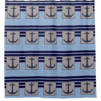 Boat Anchor & Navy Blue Stripes, Nautical Shower Curtain