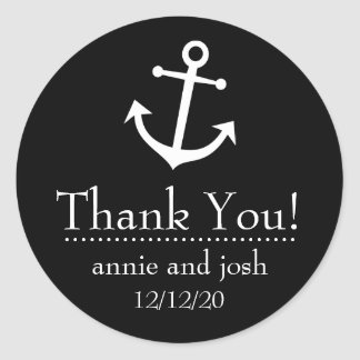 Boat Anchor Thank You Labels (Black) Round Sticker