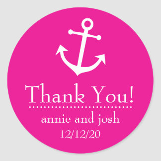 Boat Anchor Thank You Labels (Magenta Pink) Round Sticker