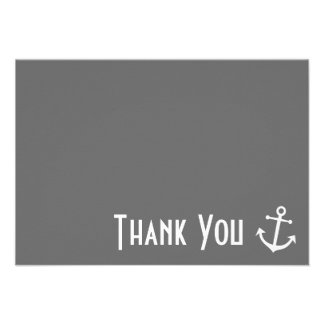 Boat Anchor Thank You Note Cards (Gray)