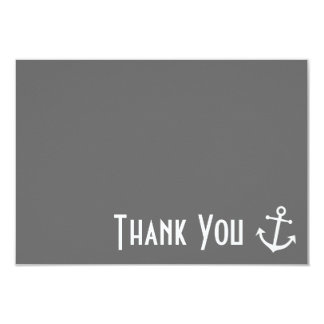 """Boat Anchor Thank You Note Cards (Gray) 3.5"""" X 5"""" Invitation Card"""