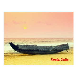 Boat  and sunset, Kerala, India Postcard