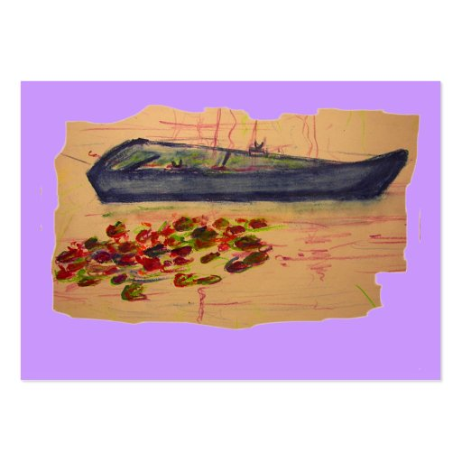 boat and water lilies torn sketch business cards