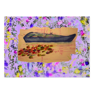 boat and water lilies torn sketch drip business cards