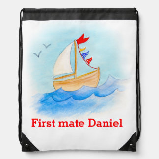 Boat art kids name blue red drawstring bag