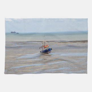 Boat at low tide kitchen towel