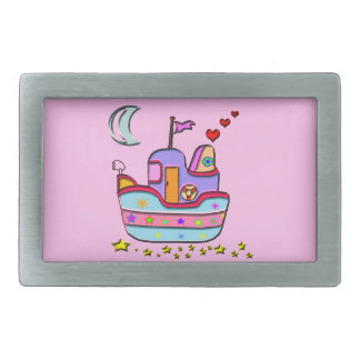 boat at night rectangular belt buckle