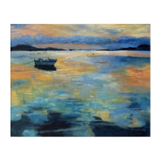 Boat at Sunset Acrylic Wall Art