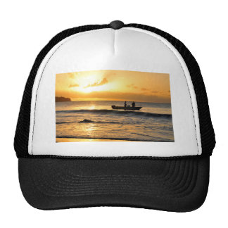 Boat at sunset cap