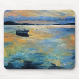 Boat at Sunset Mouse Pad