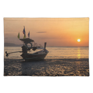 Boat at sunset on Pak Meng beach Placemat