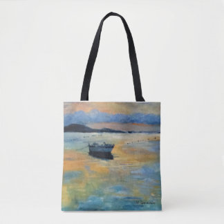 Boat at Sunset Tote Bag