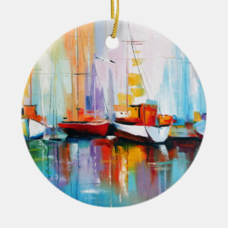 Boat berth ceramic ornament