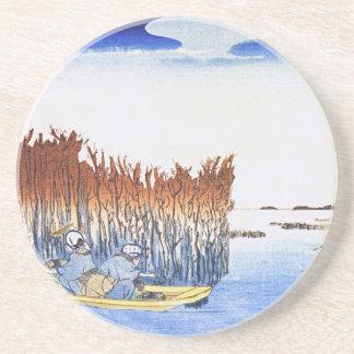 Boat by the Reeds Japanese Woodblock Art Ukiyo-E Coaster