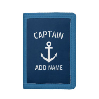 Boat captain navy blue nautical anchor custom mens trifold wallets