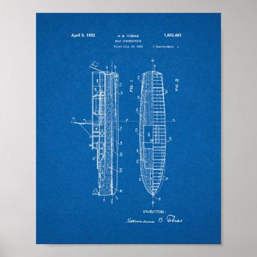Boat Construction Patent - Blueprint Poster