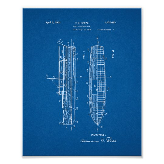 Boat Construction Patent - Blueprint Poster